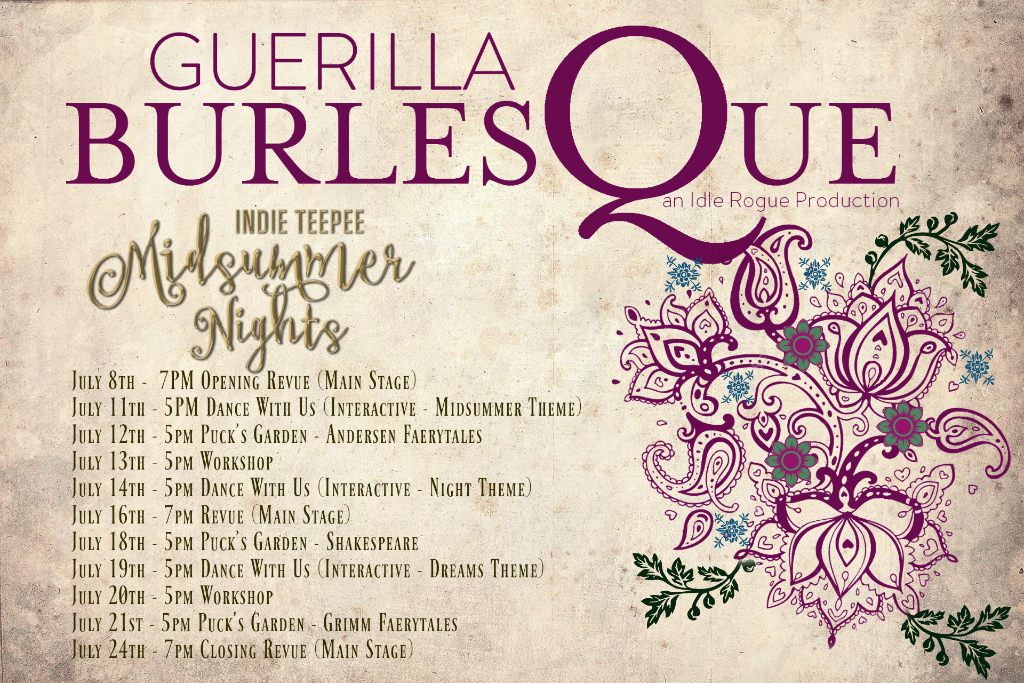 Official Schedule of Guerilla Burlesque events at Indie Teepee 2016